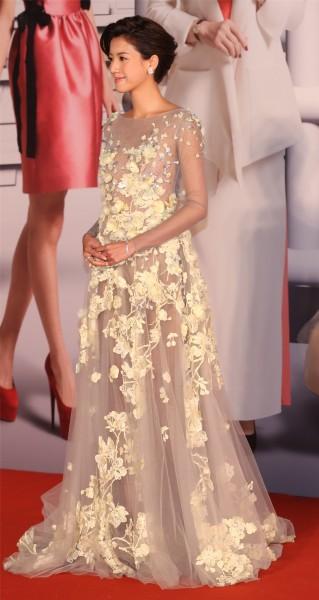 立體花米色透視裙