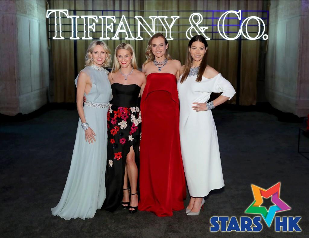 """女星Naomi Ellen Watts、Reese Witherspoon、Diane Kruger、Jessica Claire Biel 盛裝出席紐約曼哈頓下城 """"Tiffany Blue Book Collection 2016""""的慶祝晚會。"""