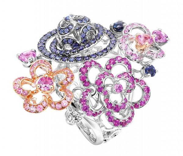 Samba Parade18K白色黃金配粉紅藍寶石、藍寶石及白鑽戒指