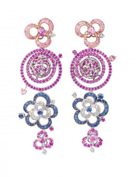 Samba Parade18K白色黃金配粉紅藍寶石、藍寶石及白鑽耳環