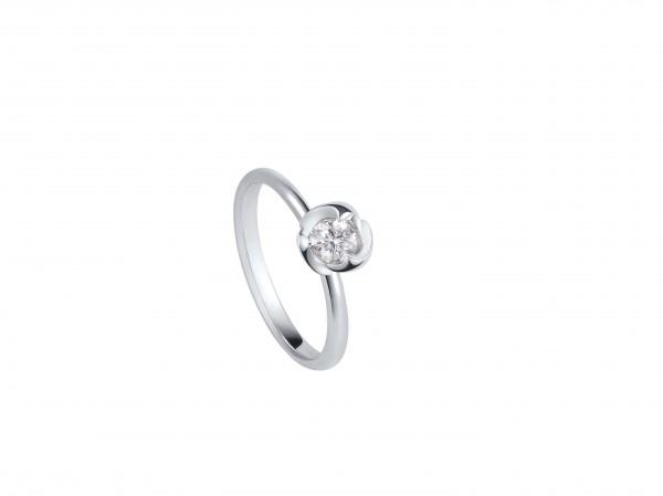 玫瑰花系列 18K白色黃金配鑲白鑽戒指
