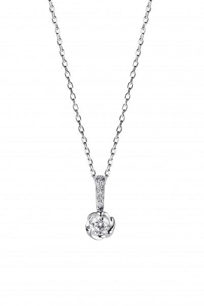 玫瑰花系列 18K白色黃金配鑲白鑽項鍊 (2)