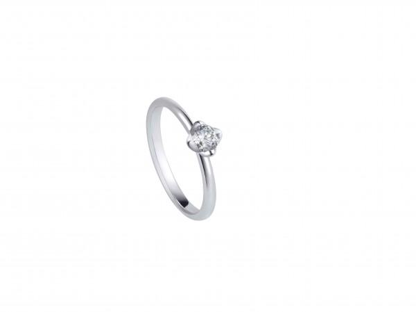 蓮花系列18K白色黃金配鑲白鑽戒指