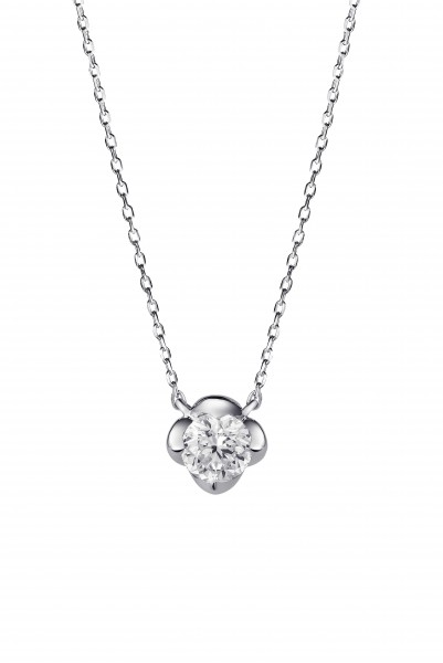 蓮花系列18K白色黃金配鑲白鑽項鍊