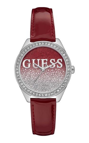 GUESS閃爍時尚腕錶-紅