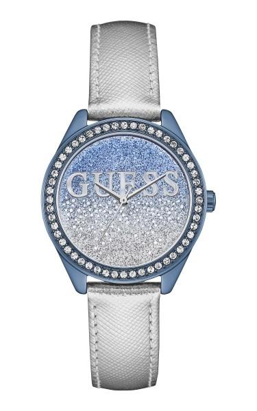 GUESS閃爍時尚腕錶-藍銀