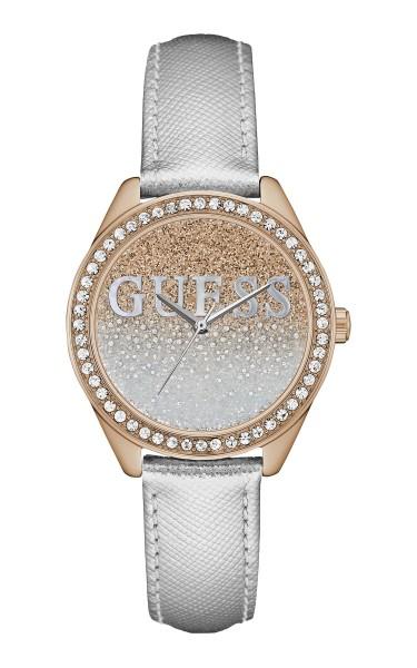 GUESS閃爍時尚腕錶-金銀