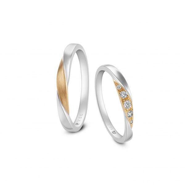 PT950鉑金及18K玫瑰色黃金鑲鑽石對裝戒指