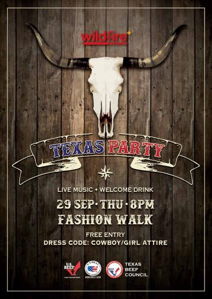 Wildfire_Fashion Walk分店將於9月29日晚上8時舉行德州牛仔派對