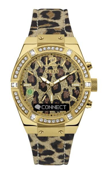 女裝豹紋款則以閃亮水晶金色錶圈,配襯豹紋錶盤及真皮錶帶,散發誘人野性魅力!