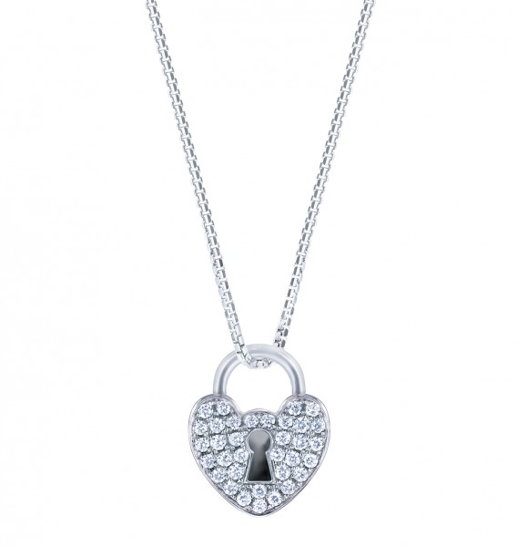 18K白色黃金鑲鑽石吊墜 (心形鎖型)