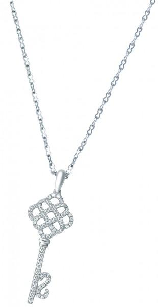 18K白色黃金鑲鑽石吊墜 (方型通花鑰)