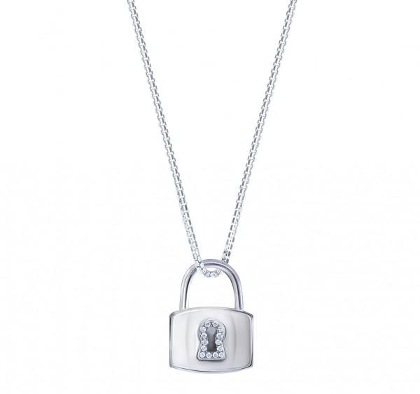18K白色黃金鑲鑽石吊墜 (鎖型)