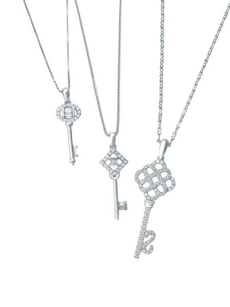 18K白色黃金鑲鑽石吊墜 鑰型 有三款選擇