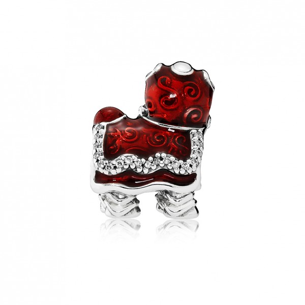 Lion Dance Sterling Silver Charm with Clear Cubic Zirconia, White, Black and Red Enamel $599 (2)