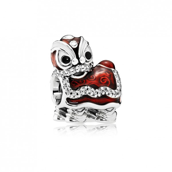 Lion Dance Sterling Silver Charm with Clear Cubic Zirconia, White, Black and Red Enamel $599