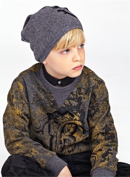Roberto Cavalli Junior 灰金棉質衛衣 from $2590 ; 簡約針織男裝帽 from $1390